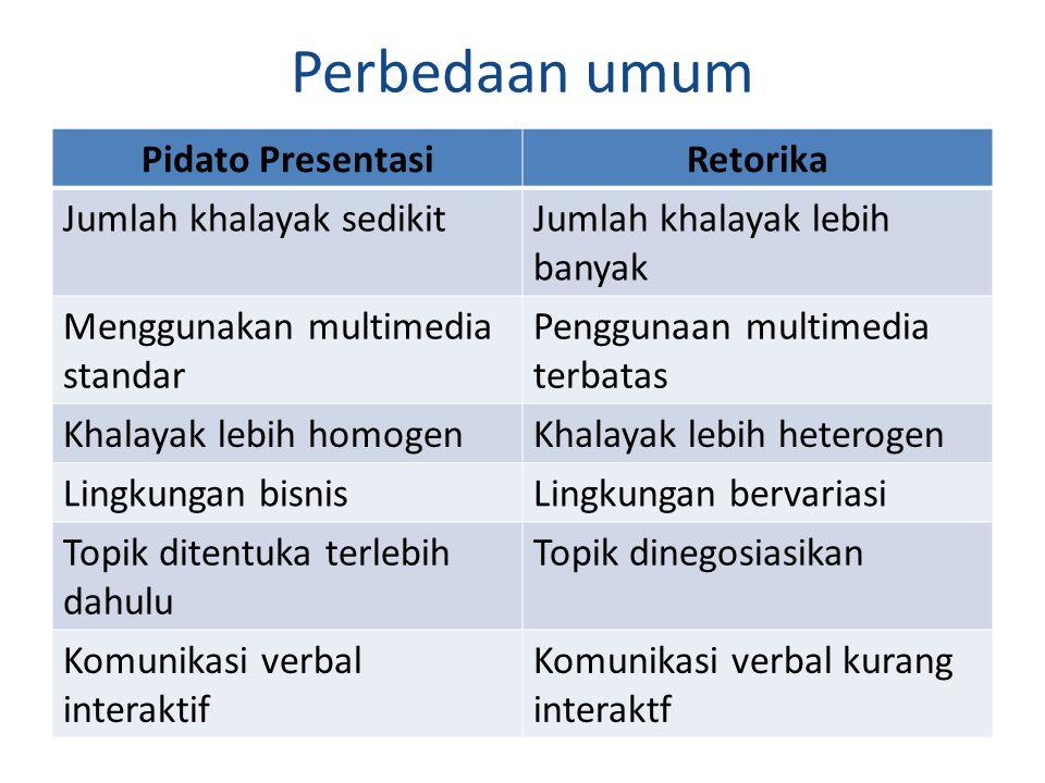 Perbedaan umum Pidato Presentasi Retorika Jumlah khalayak sedikit