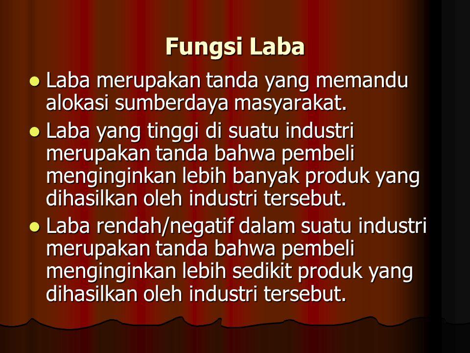 Fungsi Laba Laba merupakan tanda yang memandu alokasi sumberdaya masyarakat.