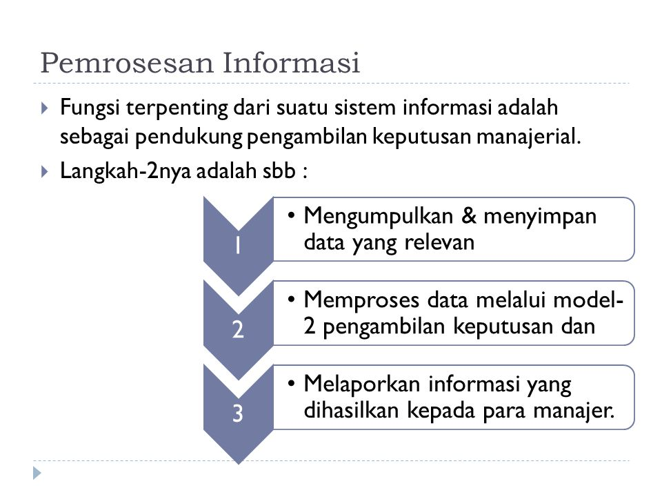 Pemrosesan Informasi Fungsi terpenting dari suatu sistem informasi adalah sebagai pendukung pengambilan keputusan manajerial.