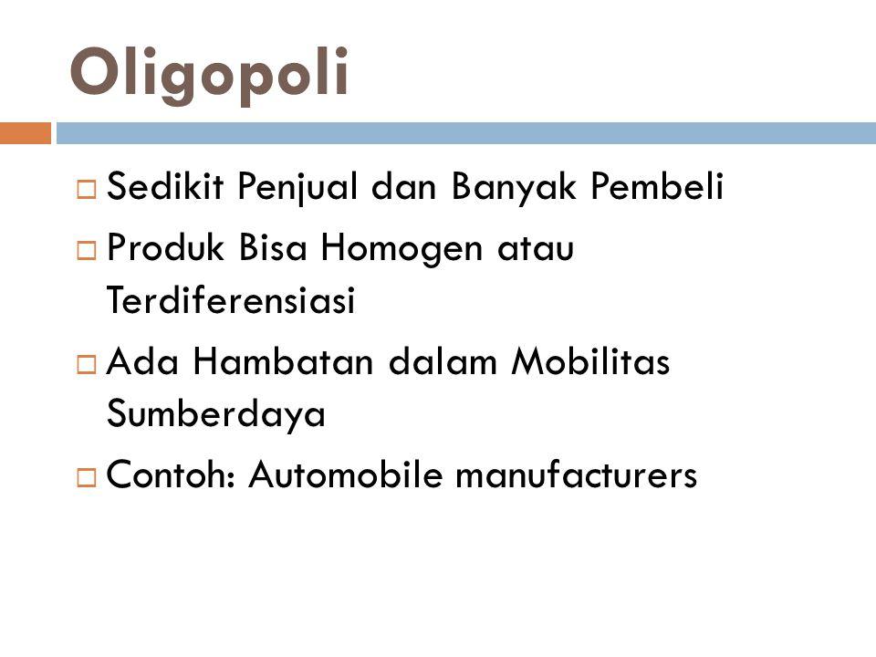 Oligopoli Sedikit Penjual dan Banyak Pembeli