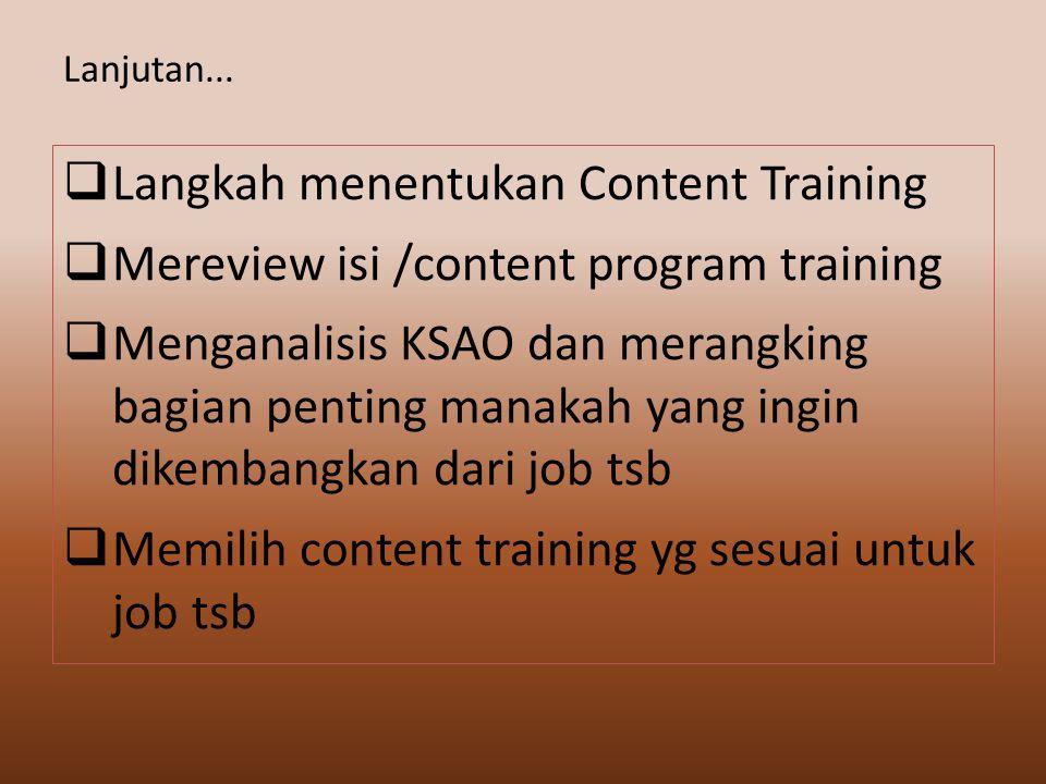 Langkah menentukan Content Training