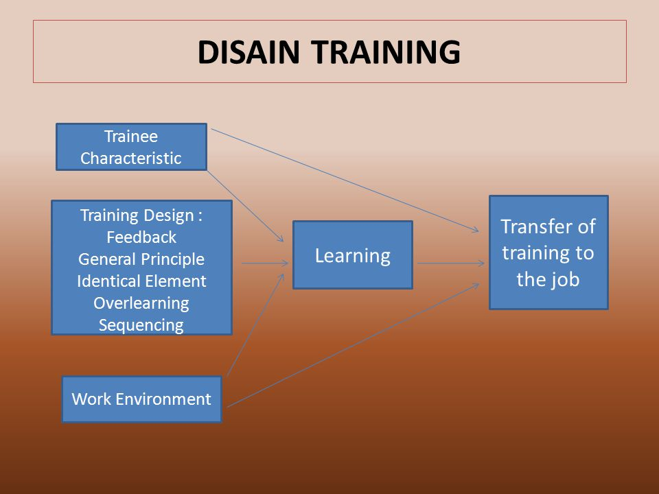 DISAIN TRAINING Transfer of training to the job Learning
