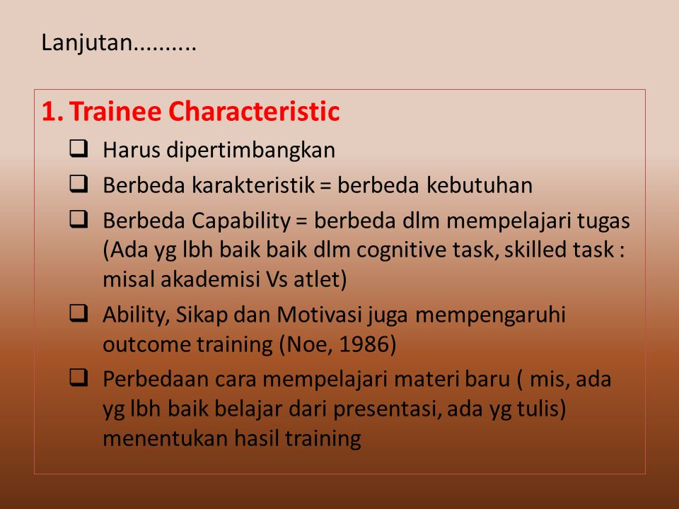 1. Trainee Characteristic