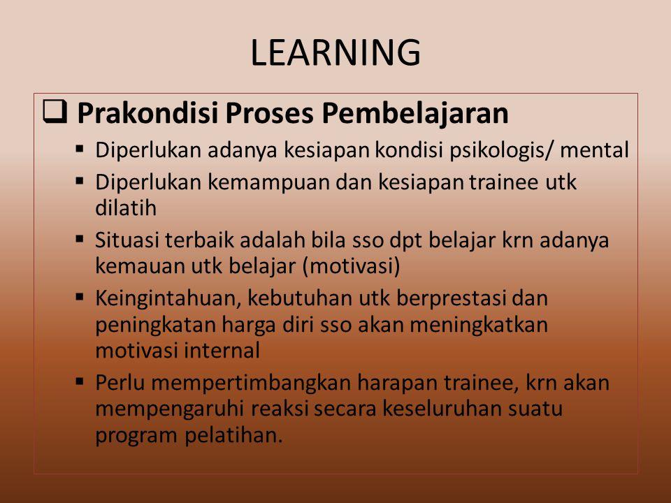 LEARNING Prakondisi Proses Pembelajaran