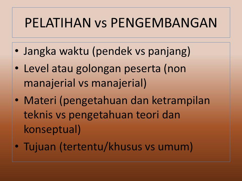 PELATIHAN vs PENGEMBANGAN