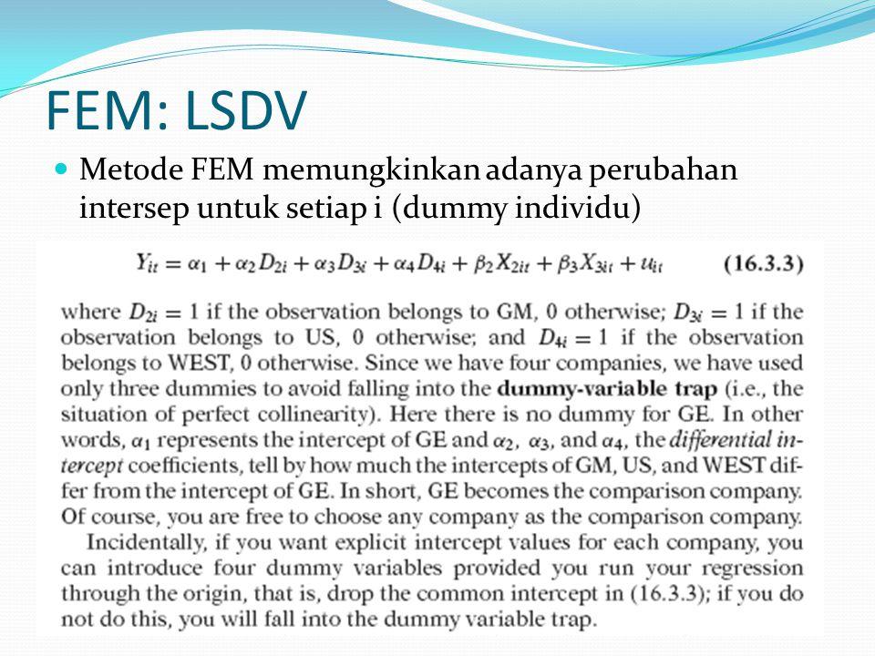 FEM: LSDV Metode FEM memungkinkan adanya perubahan intersep untuk setiap i (dummy individu)