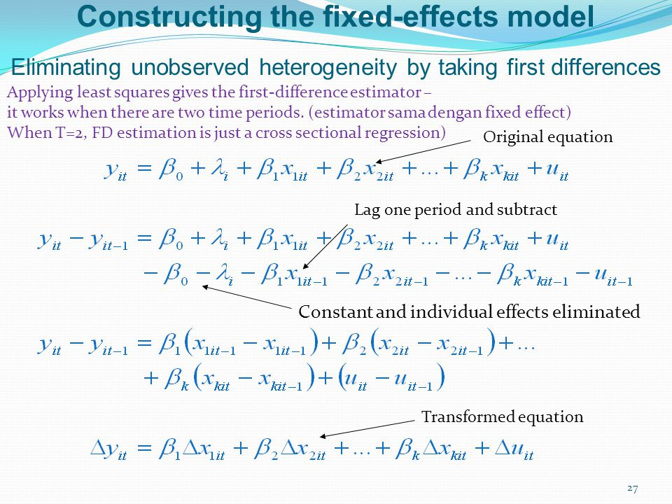 Constructing the fixed-effects model Eliminating unobserved heterogeneity by taking first differences