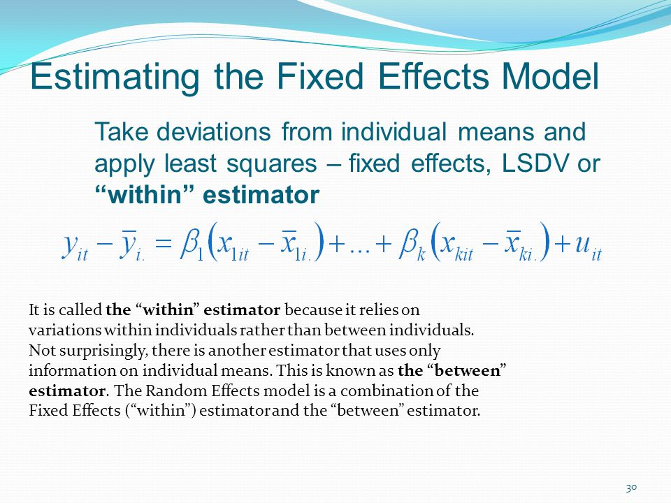 Estimating the Fixed Effects Model