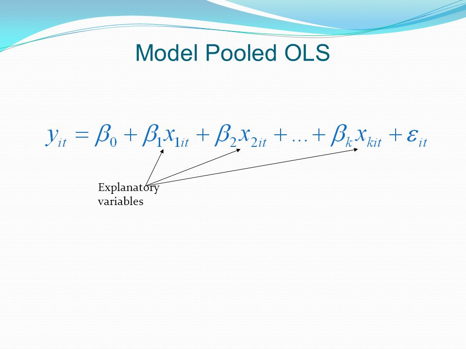 Model Pooled OLS Explanatory variables
