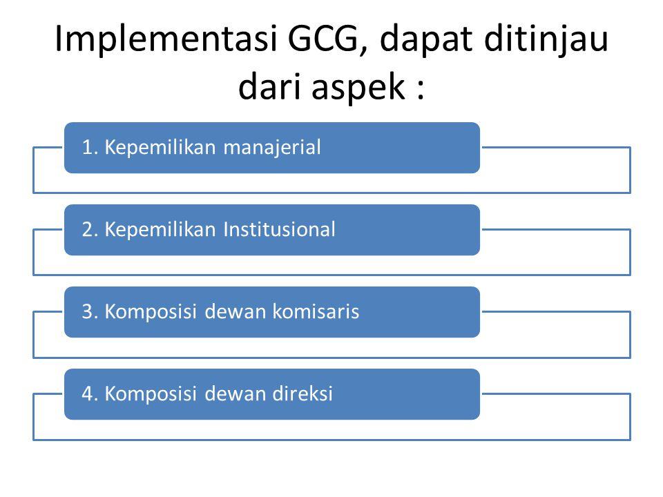 Implementasi GCG, dapat ditinjau dari aspek :