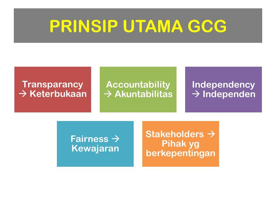 PRINSIP UTAMA GCG Transparancy  Keterbukaan