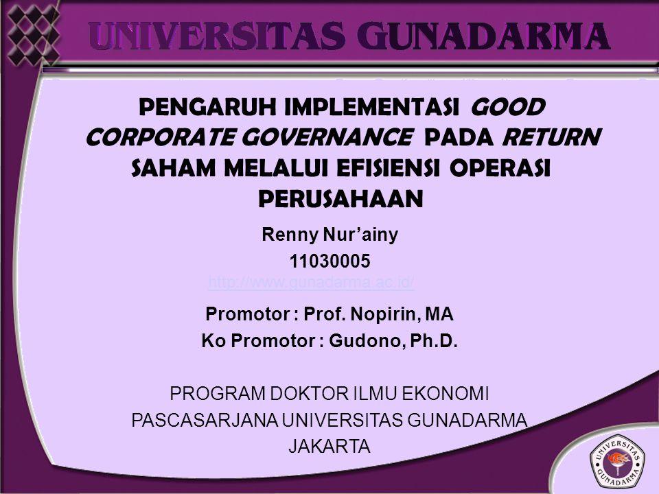 Promotor : Prof. Nopirin, MA Ko Promotor : Gudono, Ph.D.