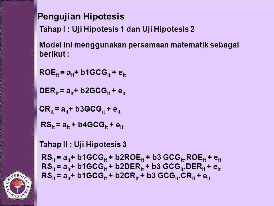 Pengujian Hipotesis Tahap I : Uji Hipotesis 1 dan Uji Hipotesis 2