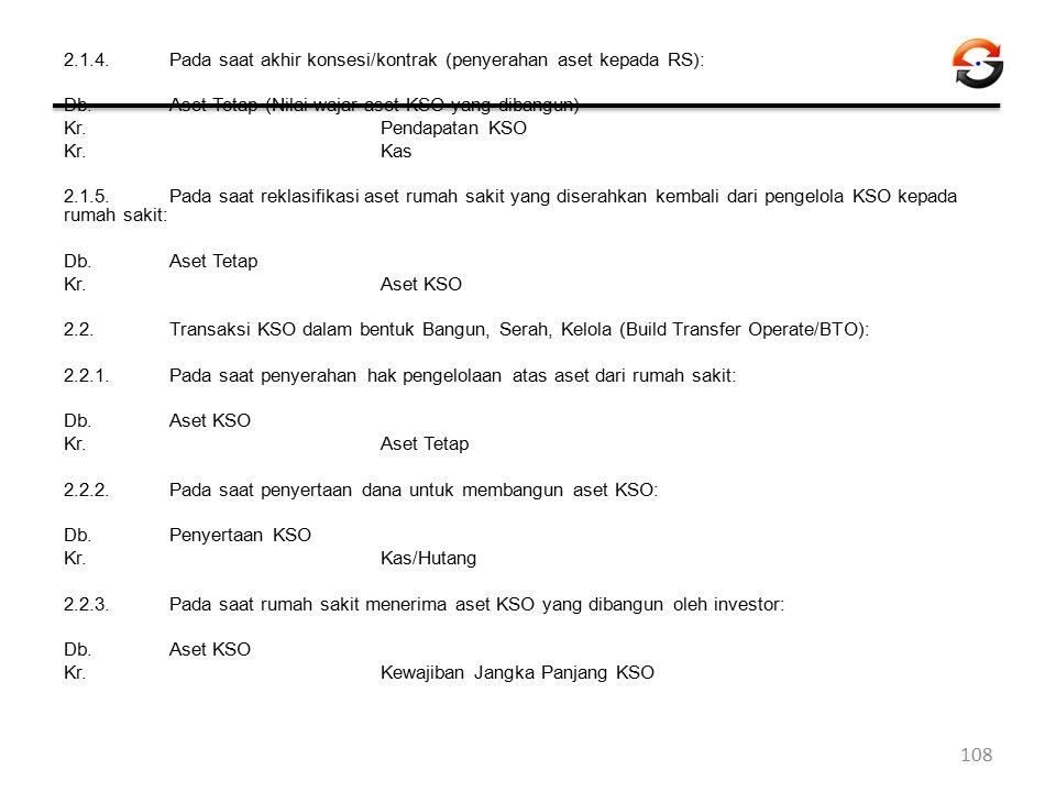 2.1.4. Pada saat akhir konsesi/kontrak (penyerahan aset kepada RS): Db.