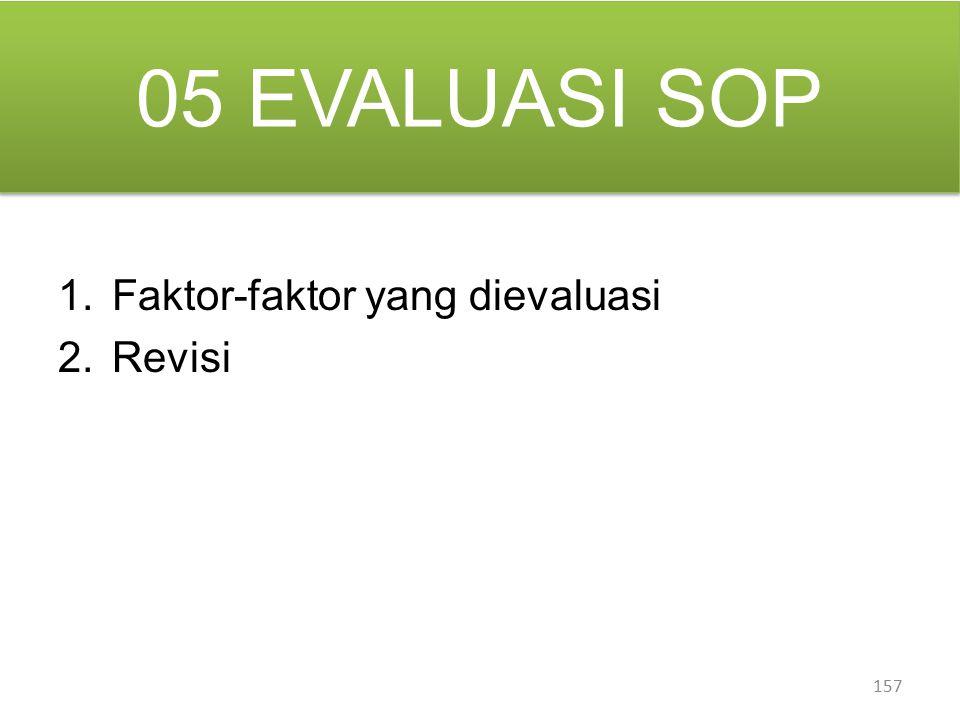 05 EVALUASI SOP Faktor-faktor yang dievaluasi Revisi