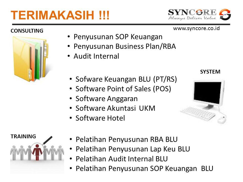 TERIMAKASIH !!! Penyusunan SOP Keuangan Penyusunan Business Plan/RBA