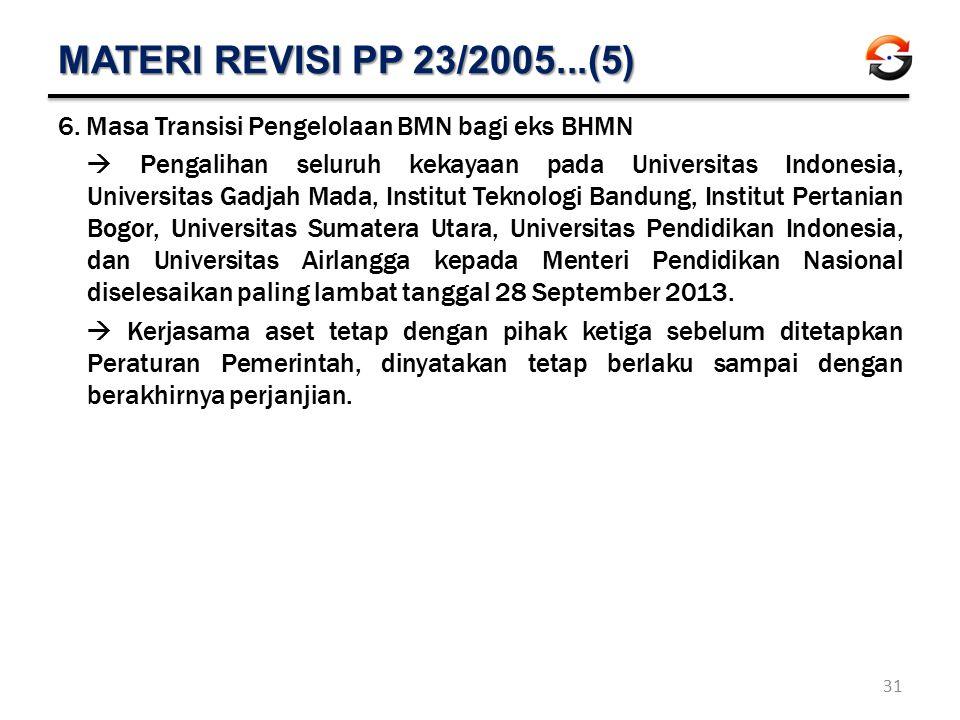 MATERI REVISI PP 23/2005...(5) Masa Transisi Pengelolaan BMN bagi eks BHMN.