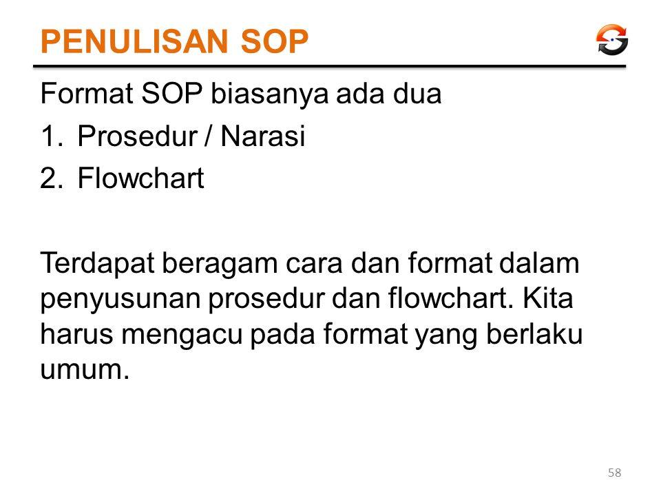 PENULISAN SOP Format SOP biasanya ada dua Prosedur / Narasi Flowchart
