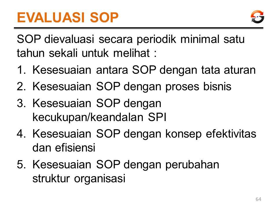 EVALUASI SOP SOP dievaluasi secara periodik minimal satu tahun sekali untuk melihat : Kesesuaian antara SOP dengan tata aturan.