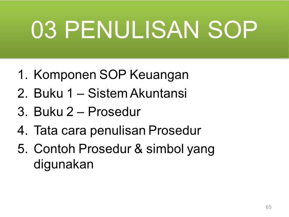 03 PENULISAN SOP Komponen SOP Keuangan Buku 1 – Sistem Akuntansi