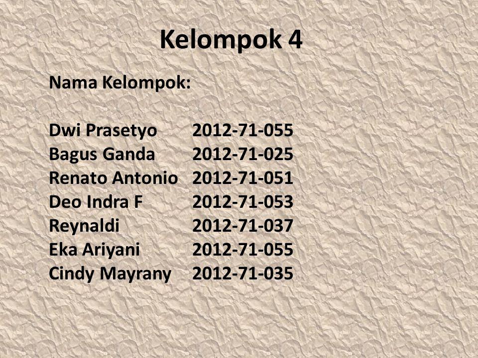 Kelompok 4 Nama Kelompok: Dwi Prasetyo 2012-71-055