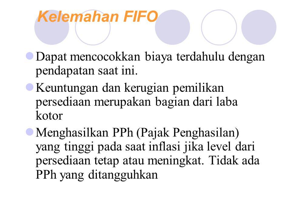 Kelemahan FIFO Dapat mencocokkan biaya terdahulu dengan pendapatan saat ini.