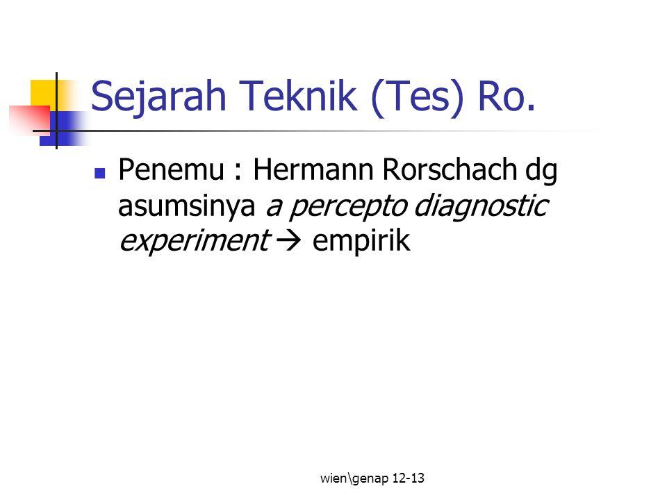 Sejarah Teknik (Tes) Ro.