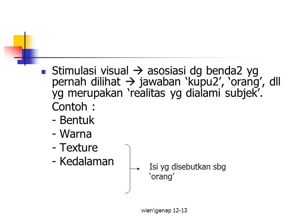 Stimulasi visual  asosiasi dg benda2 yg pernah dilihat  jawaban 'kupu2', 'orang', dll yg merupakan 'realitas yg dialami subjek'.