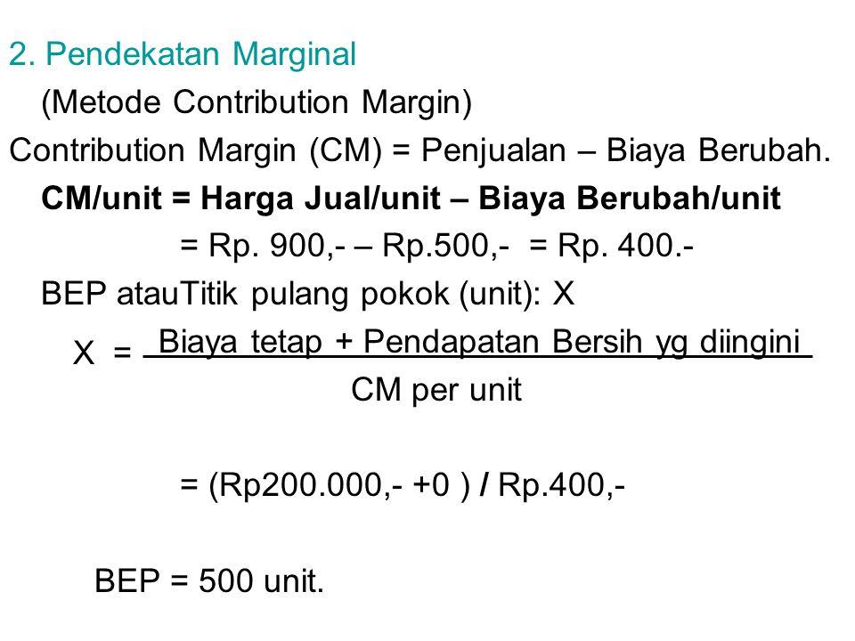 2. Pendekatan Marginal (Metode Contribution Margin) Contribution Margin (CM) = Penjualan – Biaya Berubah.