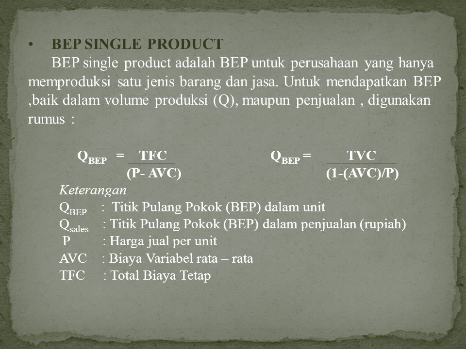 BEP SINGLE PRODUCT