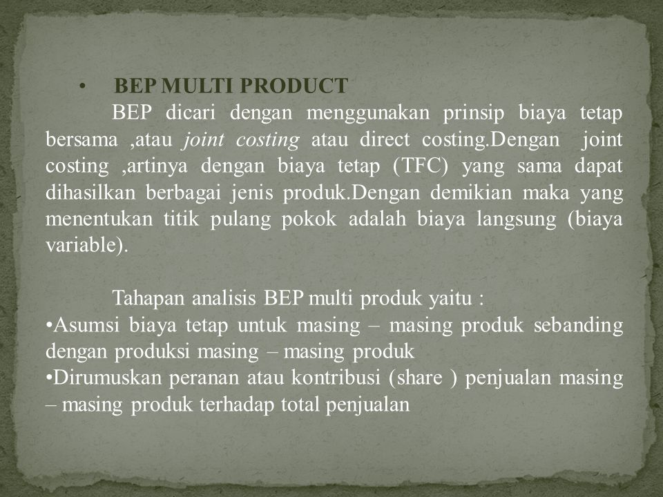 BEP MULTI PRODUCT