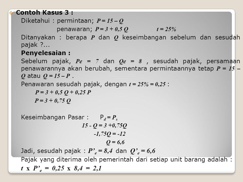 t x P'e = 0,25 x 8,4 = 2,1 Contoh Kasus 3 :