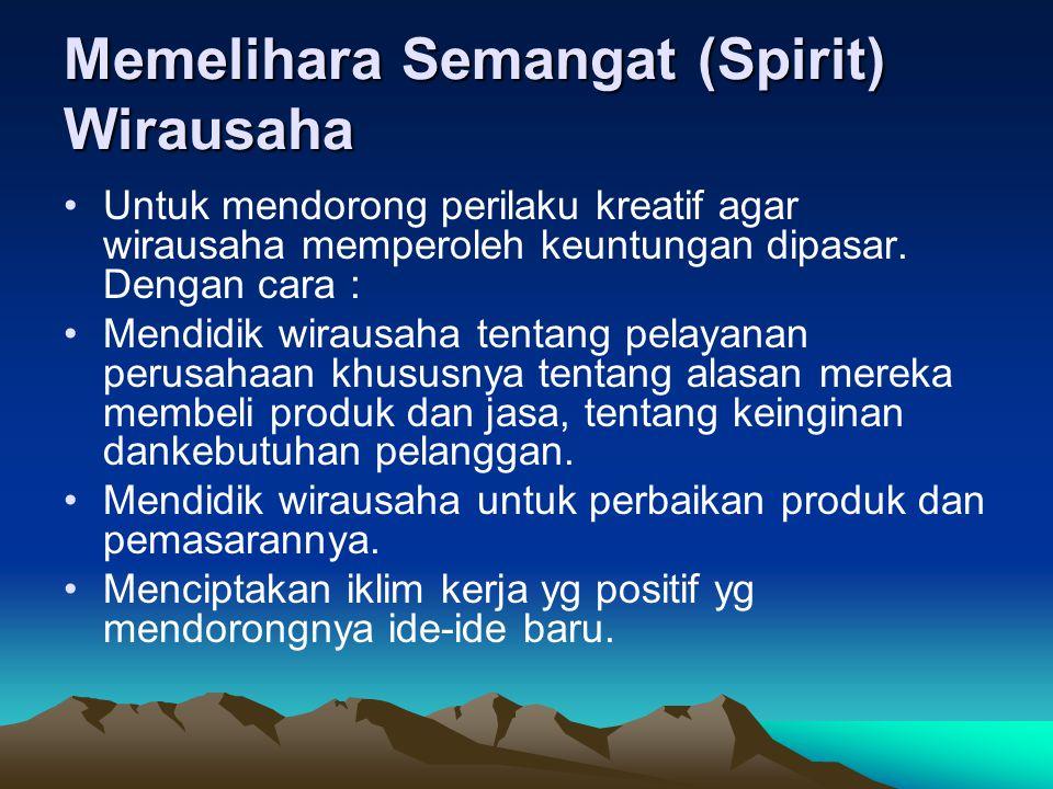 Memelihara Semangat (Spirit) Wirausaha