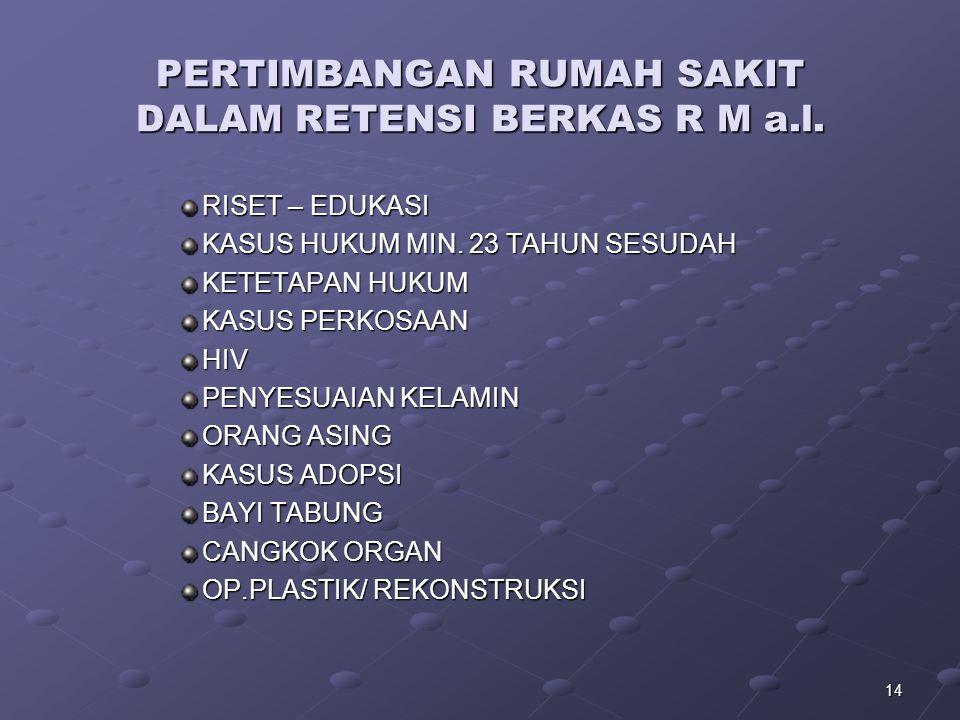 PERTIMBANGAN RUMAH SAKIT DALAM RETENSI BERKAS R M a.l.