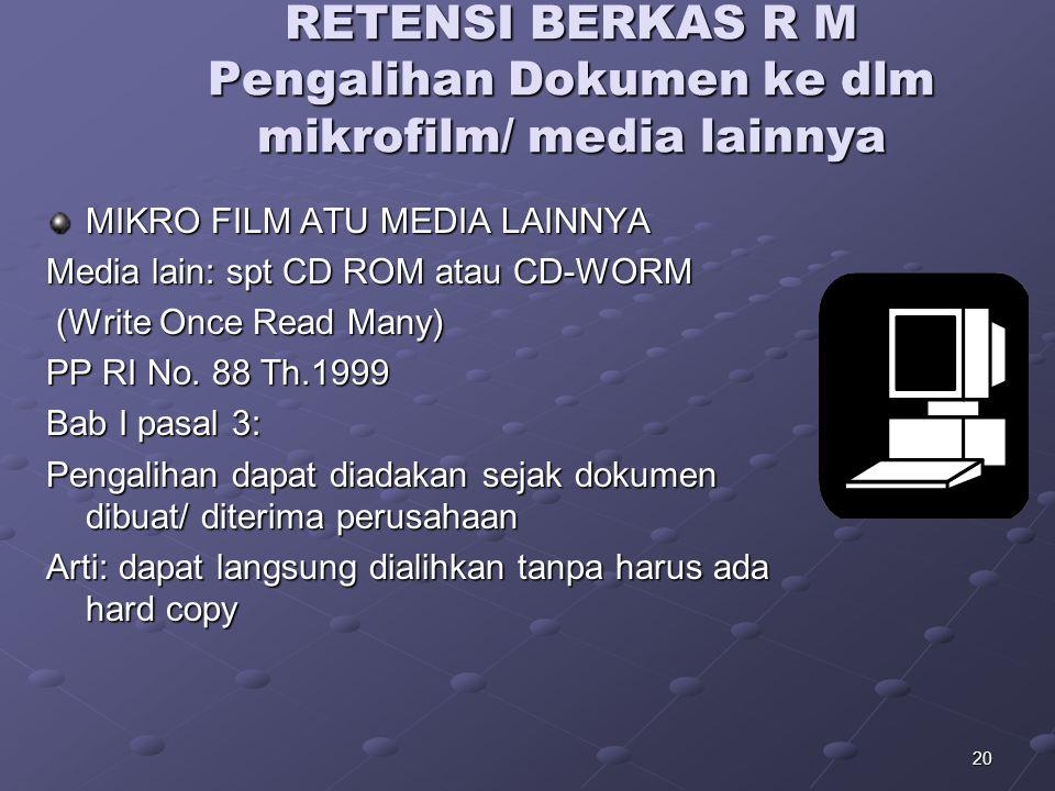 RETENSI BERKAS R M Pengalihan Dokumen ke dlm mikrofilm/ media lainnya