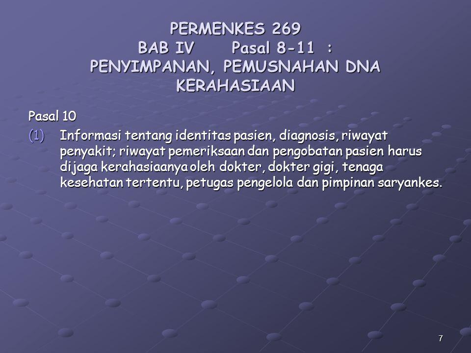 PERMENKES 269 BAB IV. Pasal 8-11