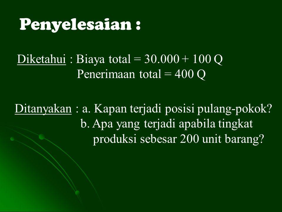 Penyelesaian : Diketahui : Biaya total = 30.000 + 100 Q