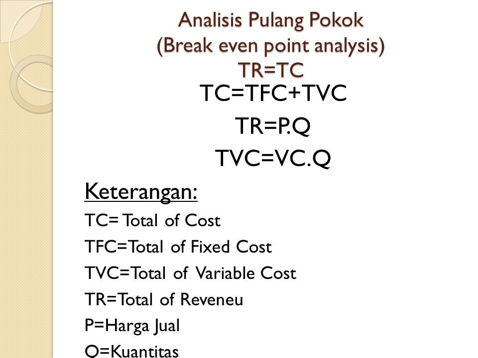 Analisis Pulang Pokok (Break even point analysis) TR=TC
