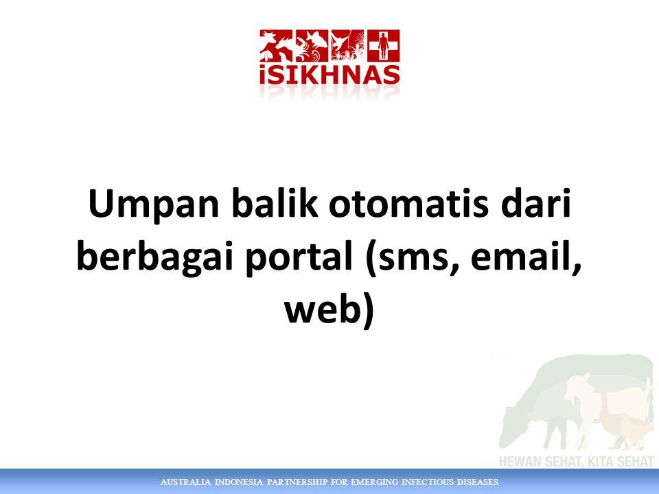 Umpan balik otomatis dari berbagai portal (sms, email, web)