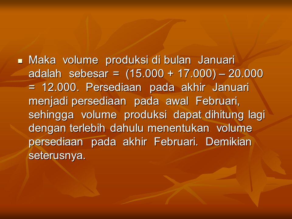 Maka volume produksi di bulan Januari adalah sebesar = (15. 000 + 17