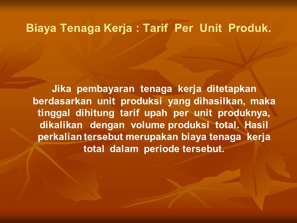 Biaya Tenaga Kerja : Tarif Per Unit Produk.