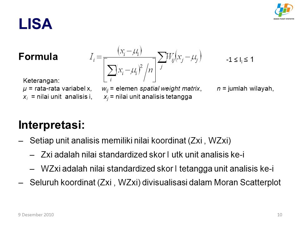 LISA Interpretasi: Formula