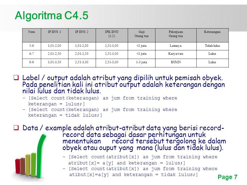 Algoritma C4.5 Nem. IP DNS 1. IP DNS 2. IPK DNU. (1-2) Gaji. Orang tua. Pekerjaan. Keterangan.