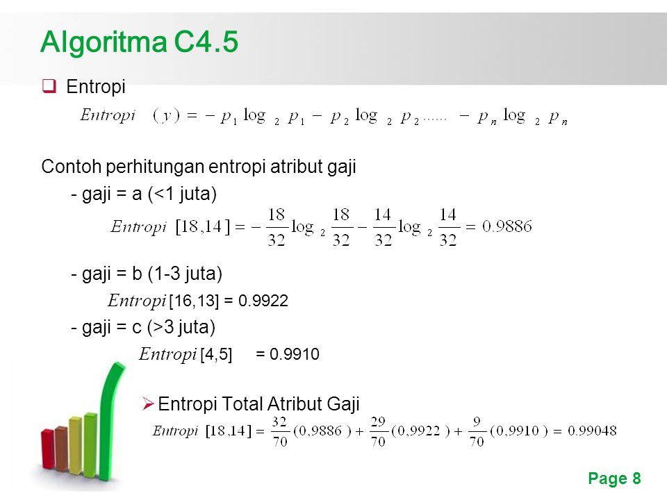 Algoritma C4.5 Entropi Contoh perhitungan entropi atribut gaji