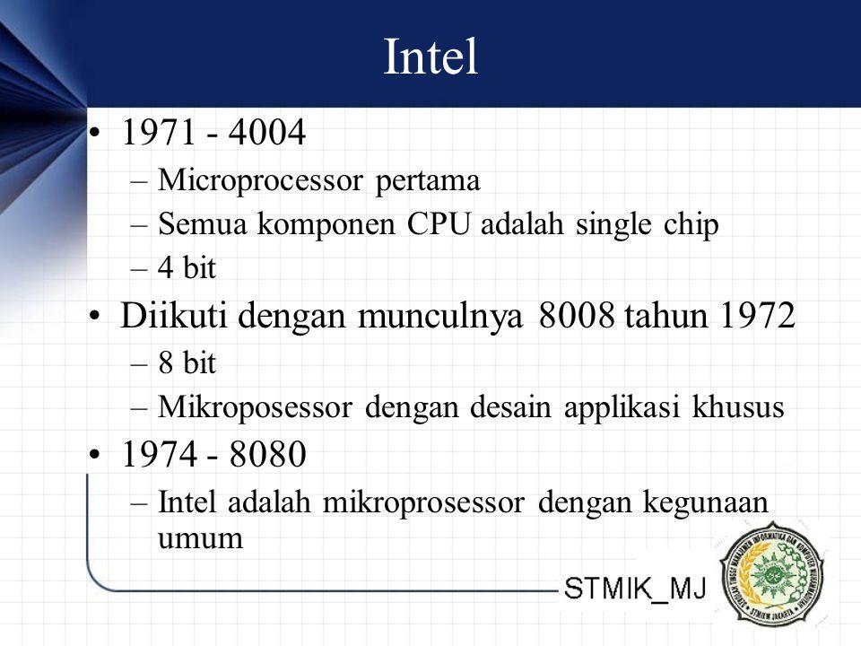 Intel 1971 - 4004 Diikuti dengan munculnya 8008 tahun 1972 1974 - 8080