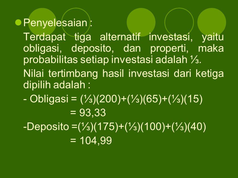 Penyelesaian : Terdapat tiga alternatif investasi, yaitu obligasi, deposito, dan properti, maka probabilitas setiap investasi adalah ⅓.
