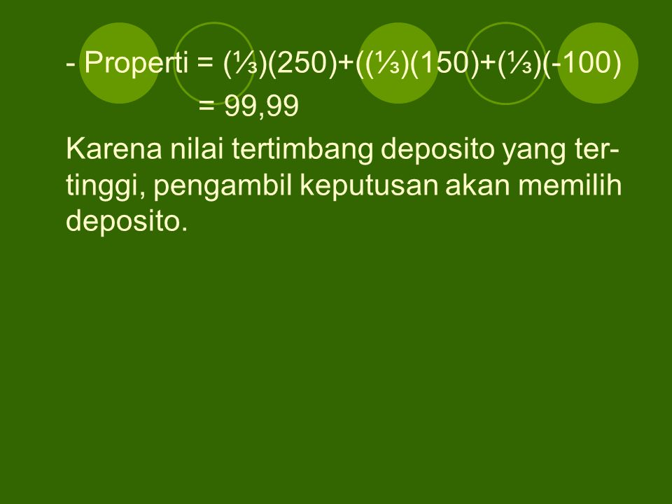- Properti = (⅓)(250)+((⅓)(150)+(⅓)(-100)