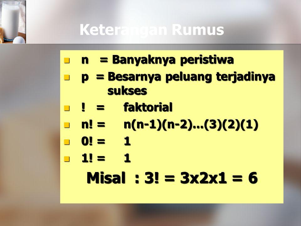 Keterangan Rumus Misal : 3! = 3x2x1 = 6
