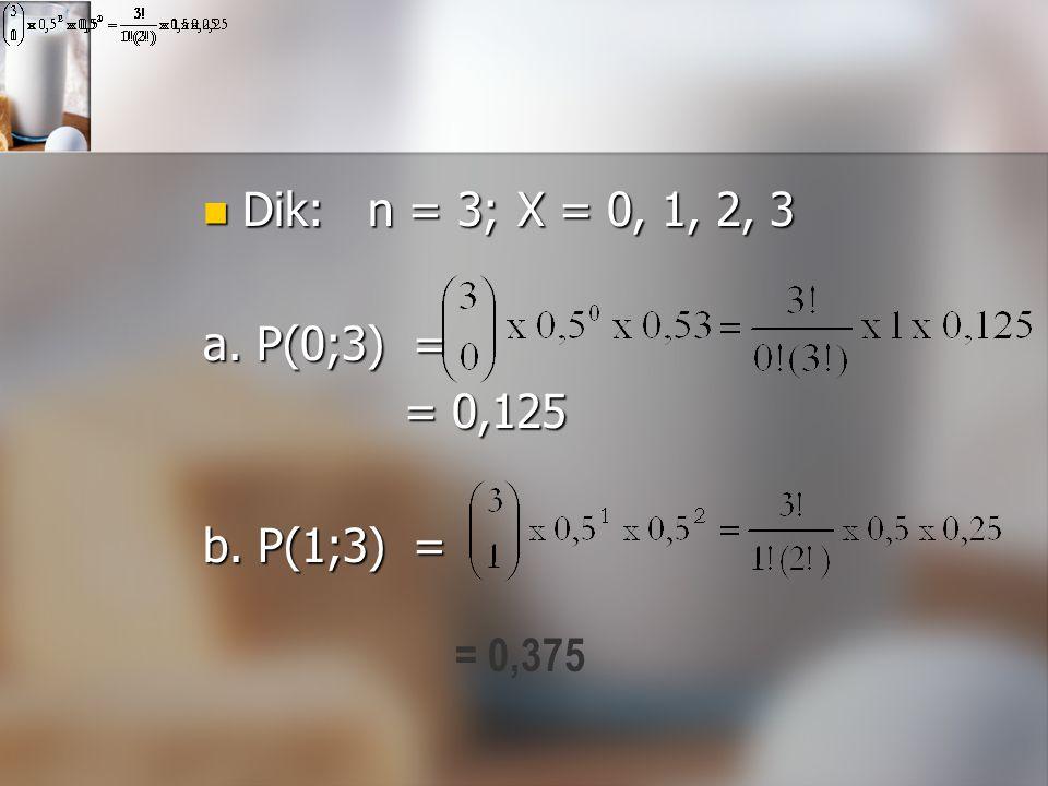 Dik: n = 3; X = 0, 1, 2, 3 a. P(0;3) = = 0,125 b. P(1;3) = = 0,375