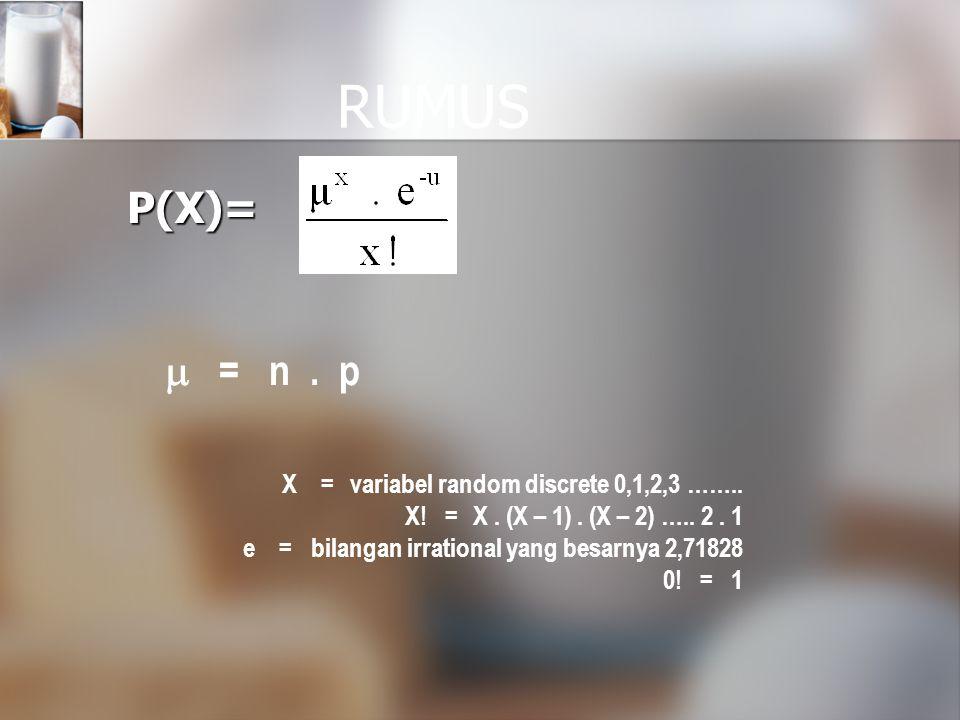 RUMUS P(X) =  = n . p X = variabel random discrete 0,1,2,3 ……..